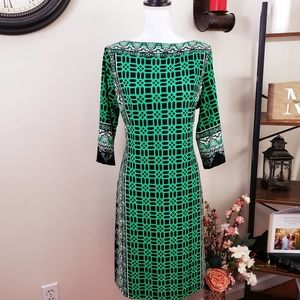 Haani Large Green Black Shift Dress 3/4 Sleeve